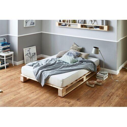 ATLANTIC home collection Palettenbett, aus massiver Fichte, wahlweise mit Matratze, natur