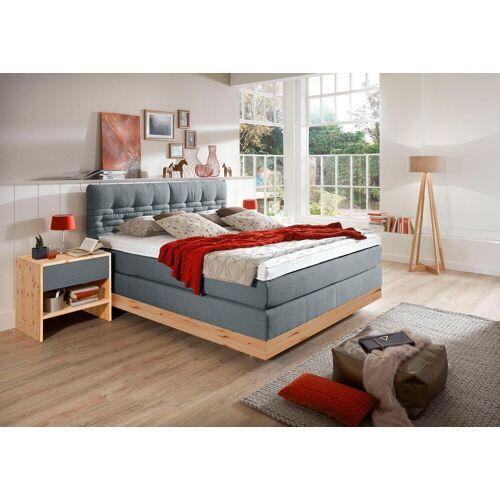 ADA premium Boxspringbett »Chalet«, TF 170 SL PM, Zirbenholz natur geölt, blau-grau TID 9