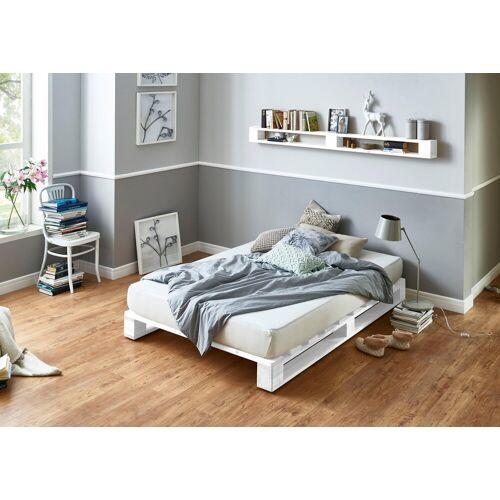 ATLANTIC home collection Palettenbett, aus massiver Fichte, wahlweise mit Matratze, weiß