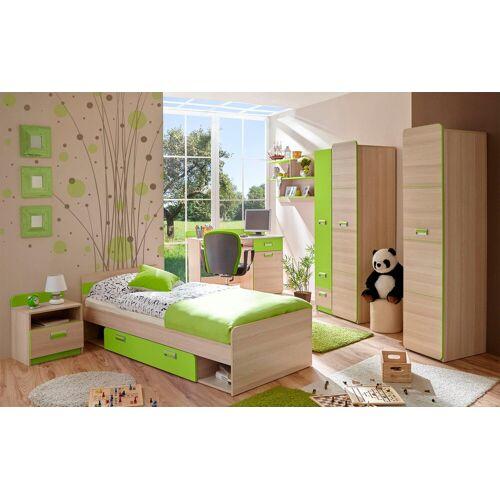Ticaa Jugendzimmer-Set »Lori«, (Set, 6-tlg), Bett + Schrank + Schreibtisch + Standregal + Wandregal + Nachttisch