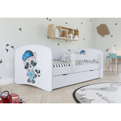 Bjird Kinderbett, mit Rausfallschutz und Schublade, weiß