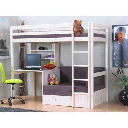 ebuy24 Kinderbett »Thuka Kids Hochbett, Couch, Lattenrost, Matratze,«, weiss, grau