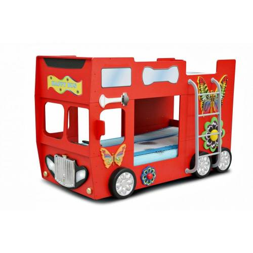 Trebela Kinderbett »Happy Bus inkl. Matratze und Lattenrost mit Leiter«, 2x Holzlattenrost, 2x Matratzen, Rot