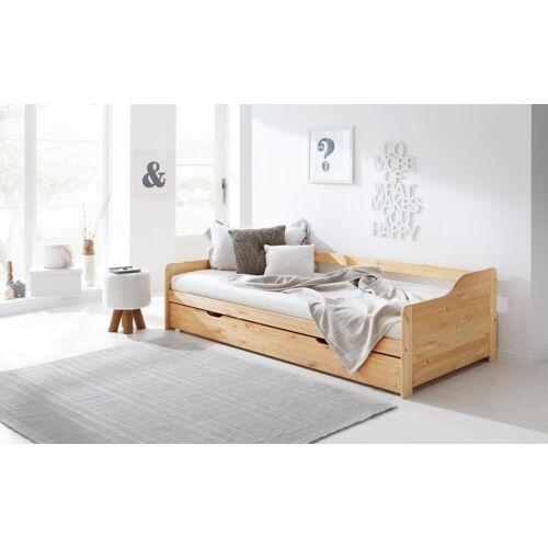 Home affaire Daybett »Tim«, mit ausziehbarer Schublade für Zweitmatratze als Gästebett, natur