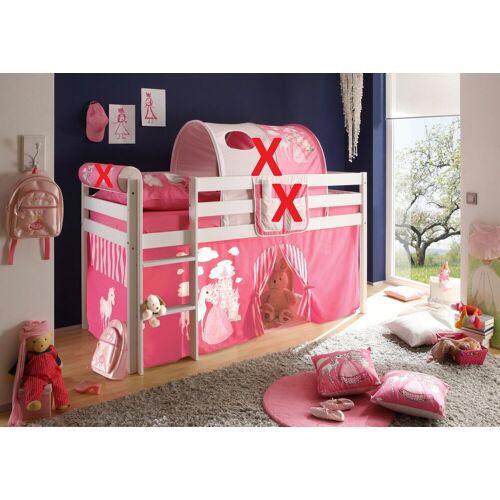 Kindermöbel 24 Hochbett »Kinderbett Hochbett Spielbett Aron 90*200 cm Kiefer massiv weiß inkl. Vorhang«
