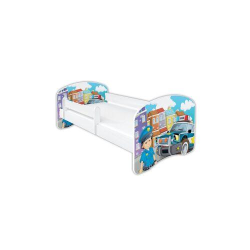 Clamaro Kinderbett (Kinderbett Babybett Jugend, mit Matratze in 3 Größen ), Nr.43 Polizei_Auto
