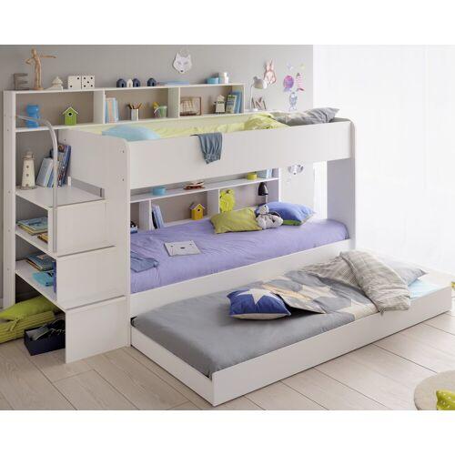 Parisot Kinderbett »Bibop mit Tili«, Etagenbett Kinderbett Jugendbett 90 x 200 cm, Dekor Weiss mit Schubkasten als 3. Bett