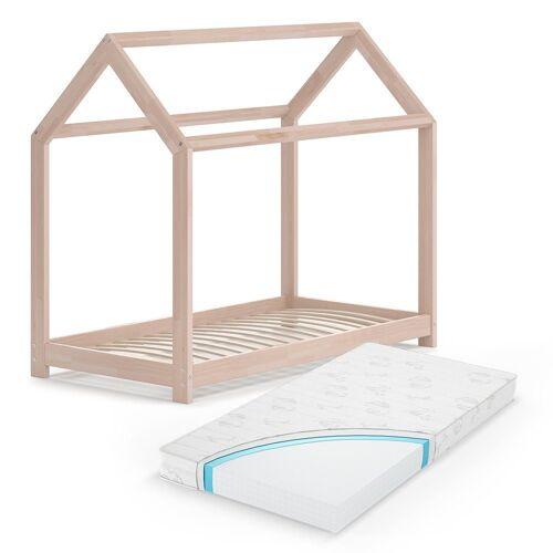 VitaliSpa® Kinderbett »Hausbett WIKI Weiß Kinderbett Kinder Bett Holz Matratze«