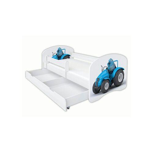 Clamaro Kinderbett (Kinderbett Babybett Jugend, mit Matratze in 3 Größen ), Nr.11 Traktor_Blau