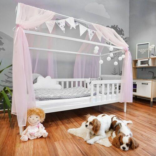 Alcube Kinderbett »Hausbett Deko Set«, Dekoration für Hausbetten mit Baldachin Lichterkette und Wimpel, Rosa