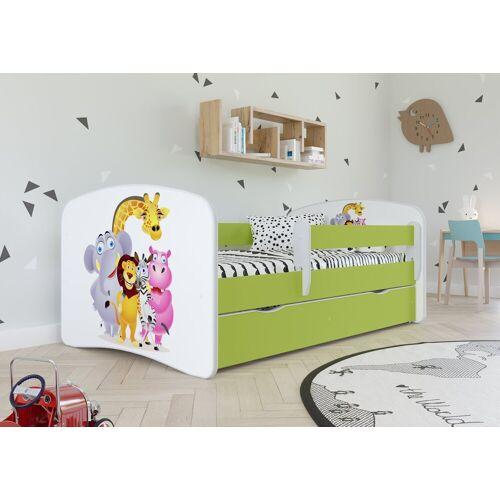 Bjird Kinderbett, mit Rausfallschutz und Schublade, grün