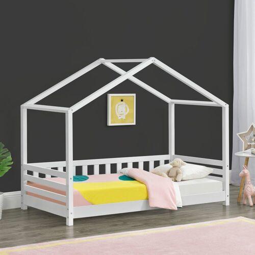 en.casa Kinderbett, »Geiranger« Hausbett Bettenhaus mit Seitenschutz Kiefernholz 80x160cm Weiß