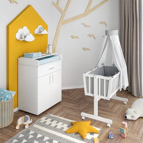 VitaliSpa® Babybett »Wiege NOAH Schaukelwiege Babywiege Holz Weiß Grau Bett Set Buche«