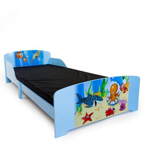 Homestyle4u Kinderbett, Einzelbett Motivbett 90x200 cm mit Lattenrost, Wasserblau