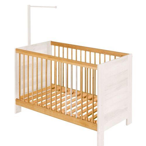 BioKinder - Das gesunde Kinderzimmer Babybett »Niklas«, 60x120 cm mit Himmelstange, Erle+Weiß
