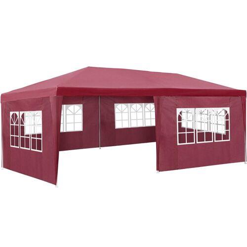 tectake Pavillon »Garten Pavillon 6x3m mit 5 Seitenteilen«, rot