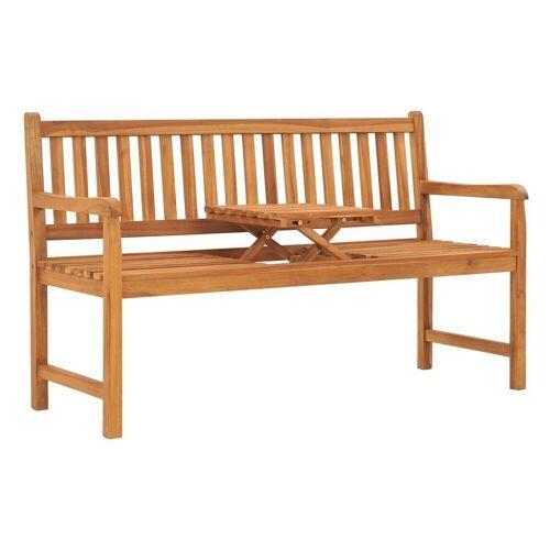 vidaXL Gartenbank »3-Sitzer Gartenbank mit Tisch 150 cm Teak Massivholz«