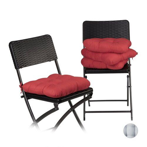 relaxdays Stuhlkissen »Stuhlkissen 4er Set«, Rot