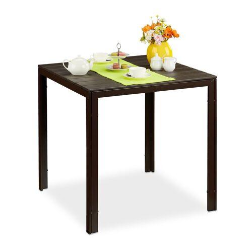 relaxdays Gartentisch »Quadratischer Gartentisch Holzoptik«