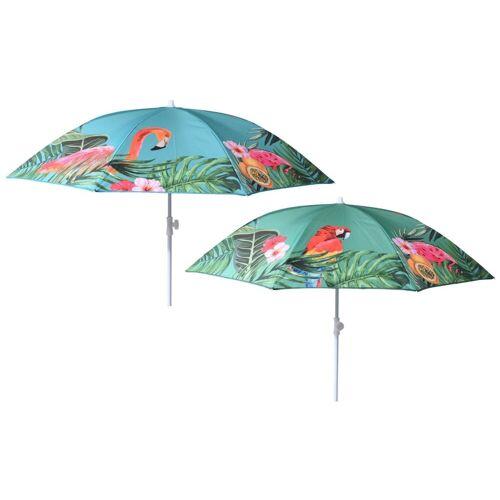 Meinposten Sonnenschirm »Ø 155 cm Strandschirm Balkonschirm UV-Schutz 40+ Schirm grün bunt«, abknickbar, türkis mit Flamingo