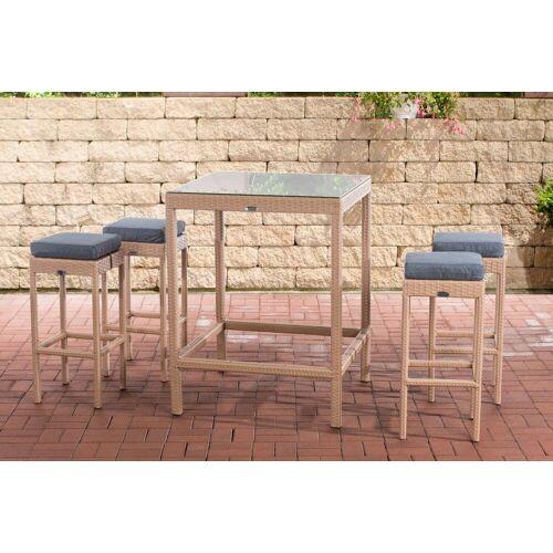 CLP Gartenmöbelset »Gartenbar Alia«, mit Tisch und 4 Barhockern, sand
