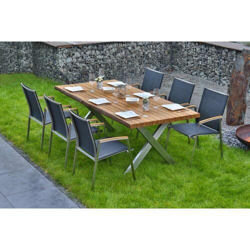 bella sole BELLASOLE Gartenmöbelset 7-tlg., 6 Stühle, Tisch 200x100 cm, Teakholz, grau/holzfarben