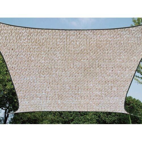 Perel Sonnensegel, quadratisch 3,6 bis 5x5 m wasserdurchlässig für Terrasse Balkon & Garten, Sonnenschutz-Segel, Champagner