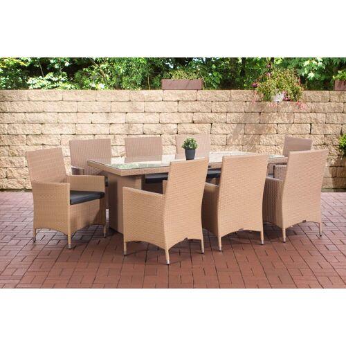 CLP Gartenmöbelset »Avignon BIG«, 8 Gartenstühlen mit Sitzkissen, sand