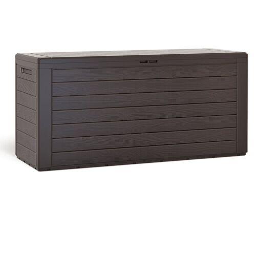 Deuba Auflagenbox »Woody«, Auflagentruhe Stecksystem Griffmulden Abschließbar Kissenbox Gartenbox Gartentruhe Gartenmöbel Box Holzoptik Braun