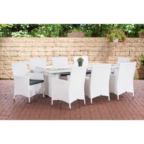 CLP Gartenmöbelset »Avignon BIG«, 8 Gartenstühlen mit Sitzkissen, weiß