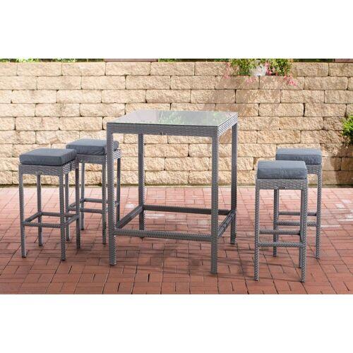 CLP Gartenmöbelset »Gartenbar Alia«, mit Tisch und 4 Barhockern, grau