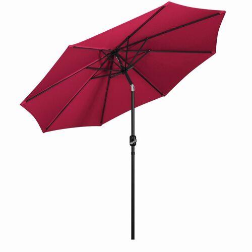 Mondeer Sonnenschirm, 2.7M Sonnenschirm, Kippbarer Gartenschirm, Marktschirm mit Handkurbel, UV-Schutz Terrassenschirm, Durchmesser ø38mm, Rot