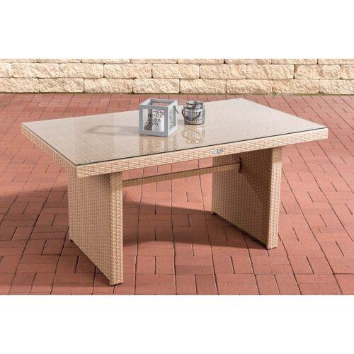CLP Gartentisch »Tisch Fisolo ca. 140 x 80 cm«, mit einer Tischplatte aus Glas, sand