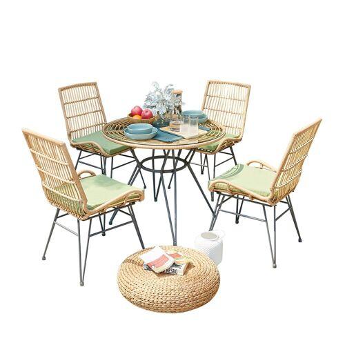 HTI-Line Sitzgruppe »Terrassenmöbel Bologna«, (4x Sessel, 1x Tisch, 5-tlg), Terrassenmöbel