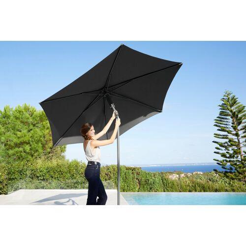 garten gut Sonnenschirm »London«, Push up,H/Ø: 210/270 cm, Ohne Schirmständer, grau