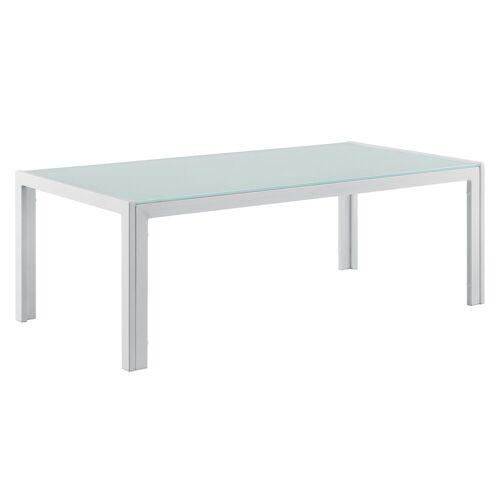 casa.pro Gartenmöbelset, »Lerum« Gartentisch Glastisch 100x50x35 cm weiß, weiß