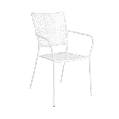 BUTLERS Gartenstuhl »NANCY Stapelstuhl mit Armlehne«, Weiß