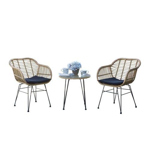 HTI-Line Sitzgruppe »Terrassenmöbel Ibiza«, (2x Stühle, 1x Tisch, inkl. Auflagen, 3-tlg), Terrassenmöbel