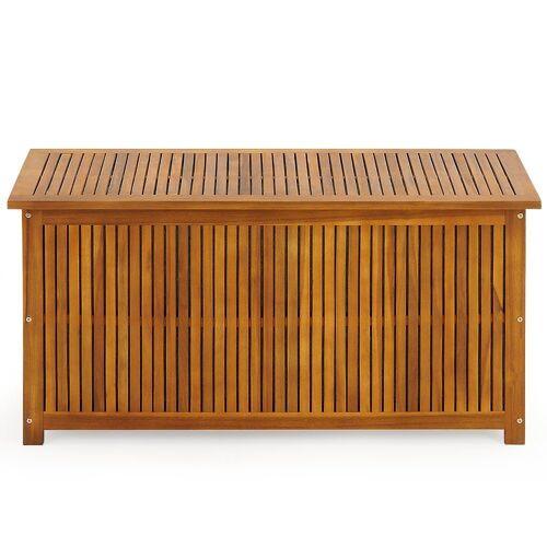 Deuba Auflagenbox, Garten Akazien Holz vorgeölt 117cm Innenplane Holztruhe Kissenbox Gartenbox Gartentruhe Truhe Kissen Box