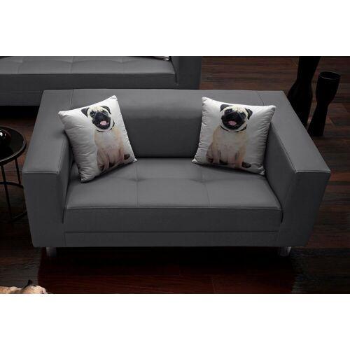 COLLECTION AB 2-Sitzer, mit 2 lustigen Hunde-Zierkissen, schwarz