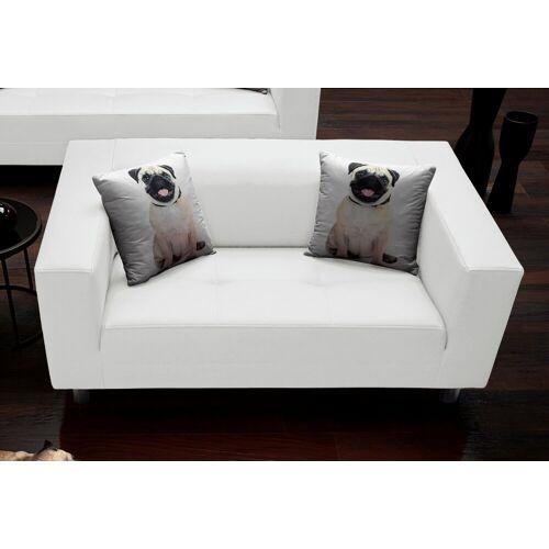 COLLECTION AB 2-Sitzer, mit 2 lustigen Hunde-Zierkissen, weiß