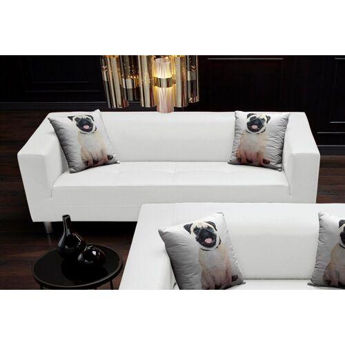 COLLECTION AB 3-Sitzer, mit 2 lustigen Hunde-Zierkissen, weiß