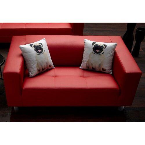 COLLECTION AB 3-Sitzer, mit 2 lustigen Hunde-Zierkissen, rot