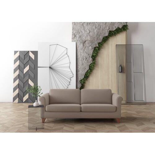 machalke® 3-Sitzer »amadeo«, Ledersofa mit geschwungenen Armlehnen, Breite 213 cm, grey HUNTER