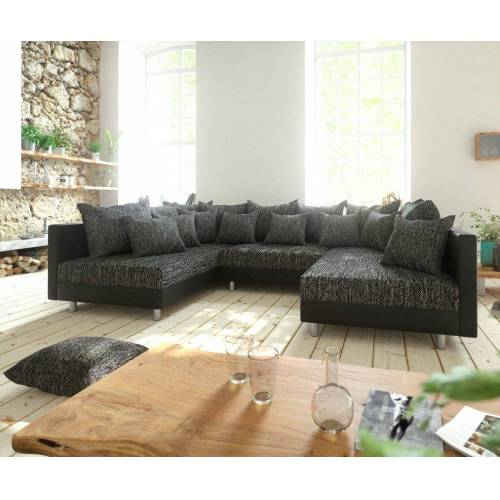 DELIFE Wohnlandschaft »Clovis«, Schwarz Wohnlandschaft modulares Sofa aus Modulsystem, Schwarz/Schwarz