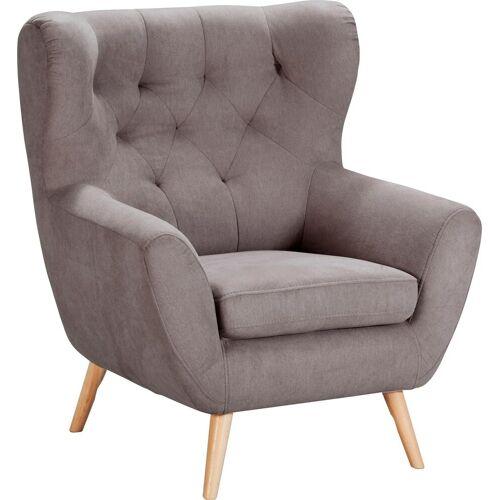 Home affaire Sessel »VOSS«, mit moderner Knopfheftung, grau-beige
