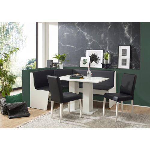 Eckbankgruppe »Sylt«, (Set, 4-tlg), Eckbank ist umstellbar, Eckbank mit Truhe, Holzwerkstoff mit Farbe Weiß-Lotos 7006 schwarz   schwarz