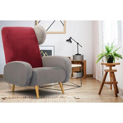 Home affaire Sessel »Gox«, in außergewöhnlicher stylischer Optik, grau-rot