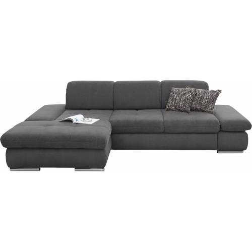 set one by Musterring Ecksofa »SO 4100«, Recamiere links oder rechts, wahlweise mit Bettfunktion, grau
