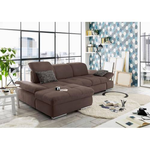 set one by Musterring Ecksofa »SO 4100«, Recamiere links oder rechts, wahlweise mit Bettfunktion, nuss